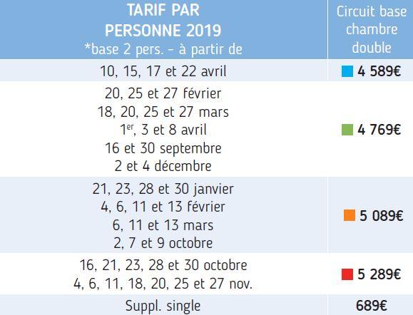 PRIX PAR DATES DE DEPART Base 2