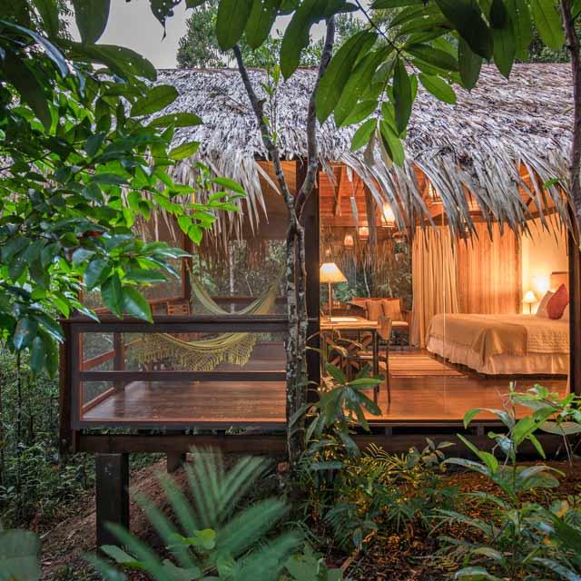 Bungalow au Anavilhanas Jungle Lodge, Voyage au Brésil